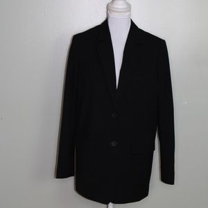 everlane women wool blazer jacket size 2 black